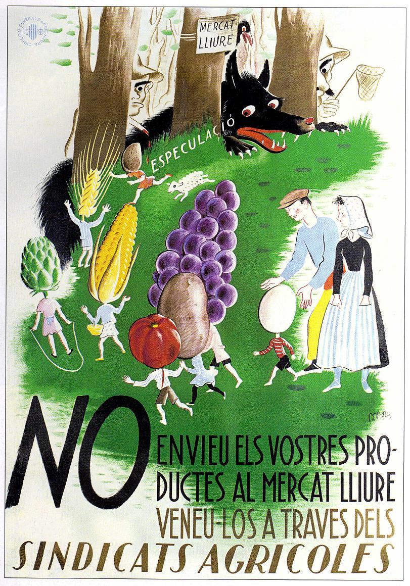 CARTEL DE EVARIST mORA ROSELLO PUBLICADO POR LA DIRECCIO GENERAL DE AGRICULTURA. BARCELONA 1937